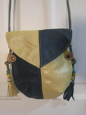 Handmade Turquoise & Yellow Harlequin Event/Walking Leather Crossbody Bag with beading