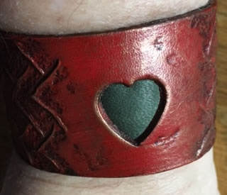 Red Dragon Heart Leather Wristband,