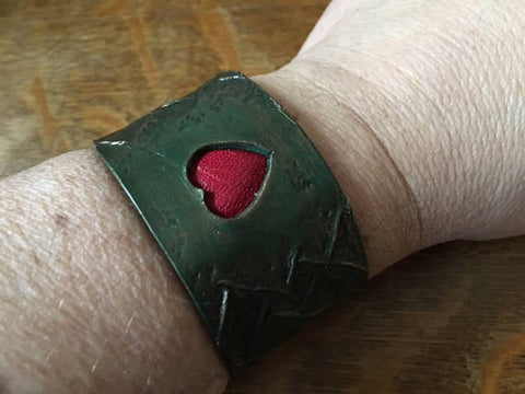 Green Dragon Heart Wristband, Leather Wristband