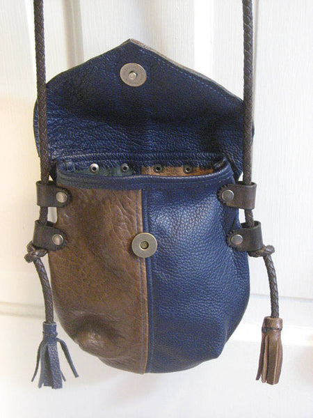 Handmade Brown & Blue #1 Harlequin Event/Walking Leather Crossbody Bag