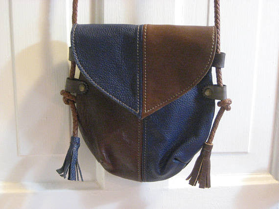 Handmade Brown & Blue #2 Harlequin Event/Walking Leather Crossbody Bag