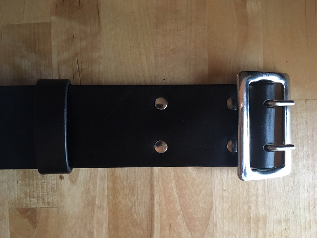 Custom Kilt Belts Black w/silver buckle, made to order.