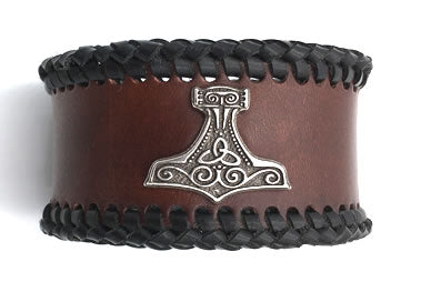 Mjölnir Braided Leather Wrist Band/Cuff