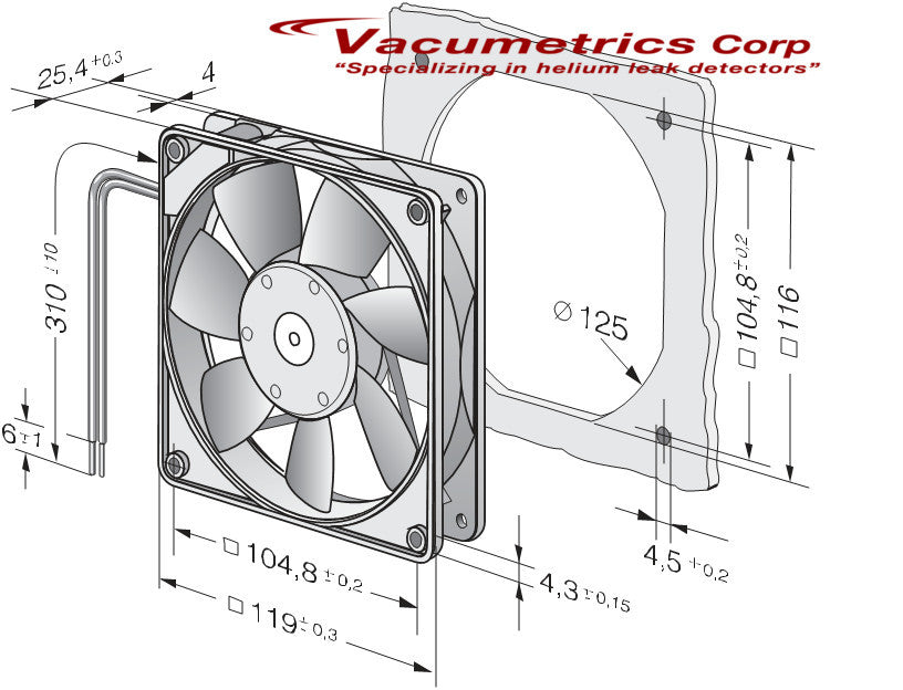 (EL-F-M1058) 24 Volt Square Fan (Thin)