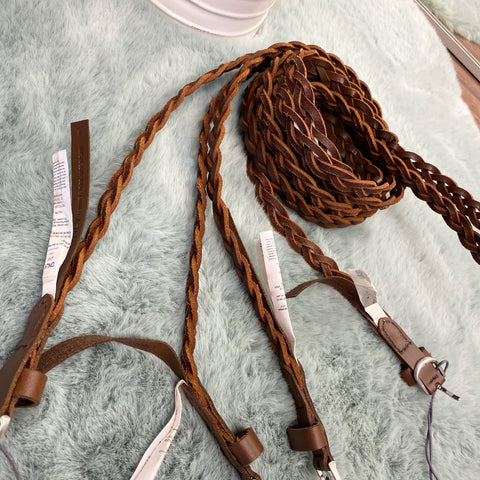 Plaited Leather Belt ~ Brown