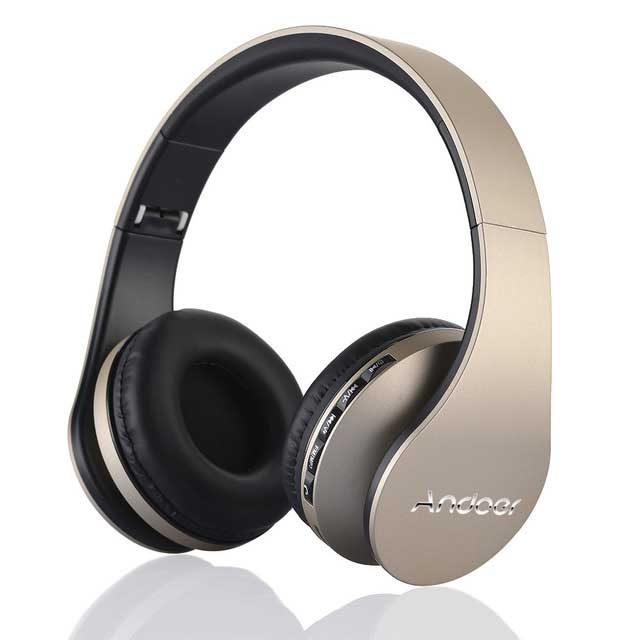 ANDOER Golden Multi-functional Noise Cancelling Headphones w/ Mic