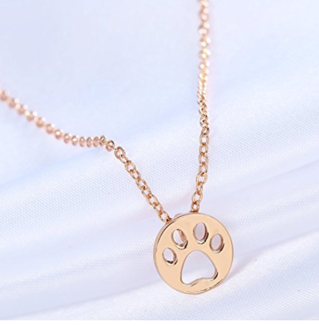 dog paw coin cut shape pendant