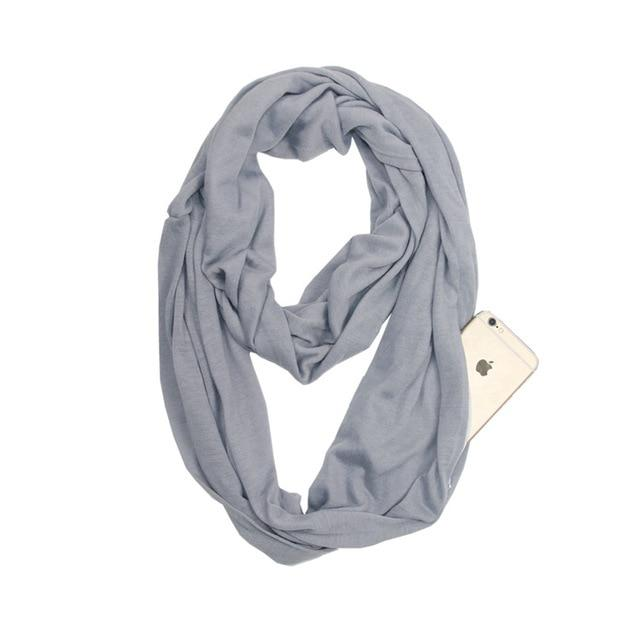 Grey Infinity Scarf with Pocket