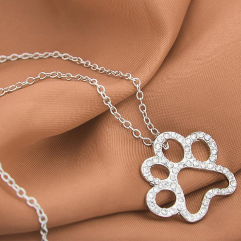 White Crystal Rhinestone Dog Paw Necklace Pendant