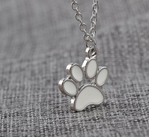 dog paw silver necklace pendant