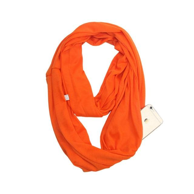 Orange Infinity Scarf with Pocket