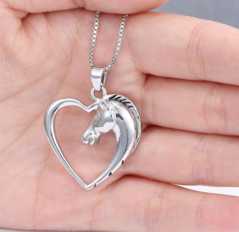 Silver Heart Horse Pendant Necklace