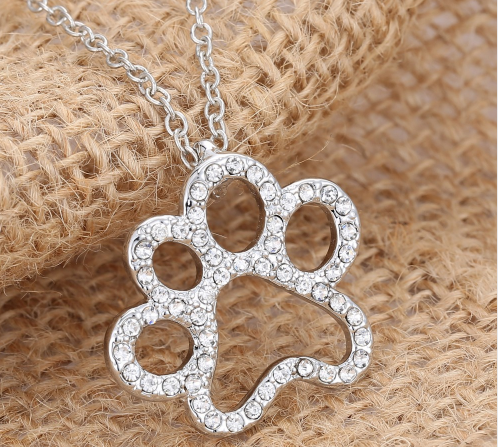 Crystal Rhinestone Dog Paw Necklace Pendant