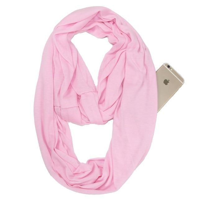 Pink Infinity Scarf with Pocket