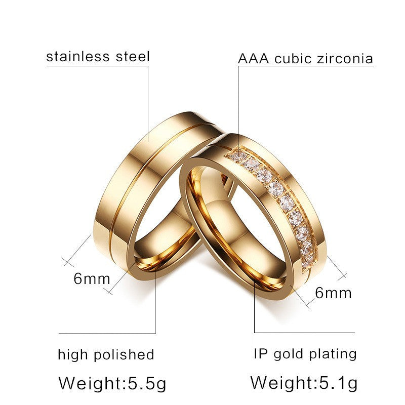 couple ring gold and crystal