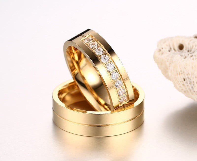 crystal and gold couple ring set