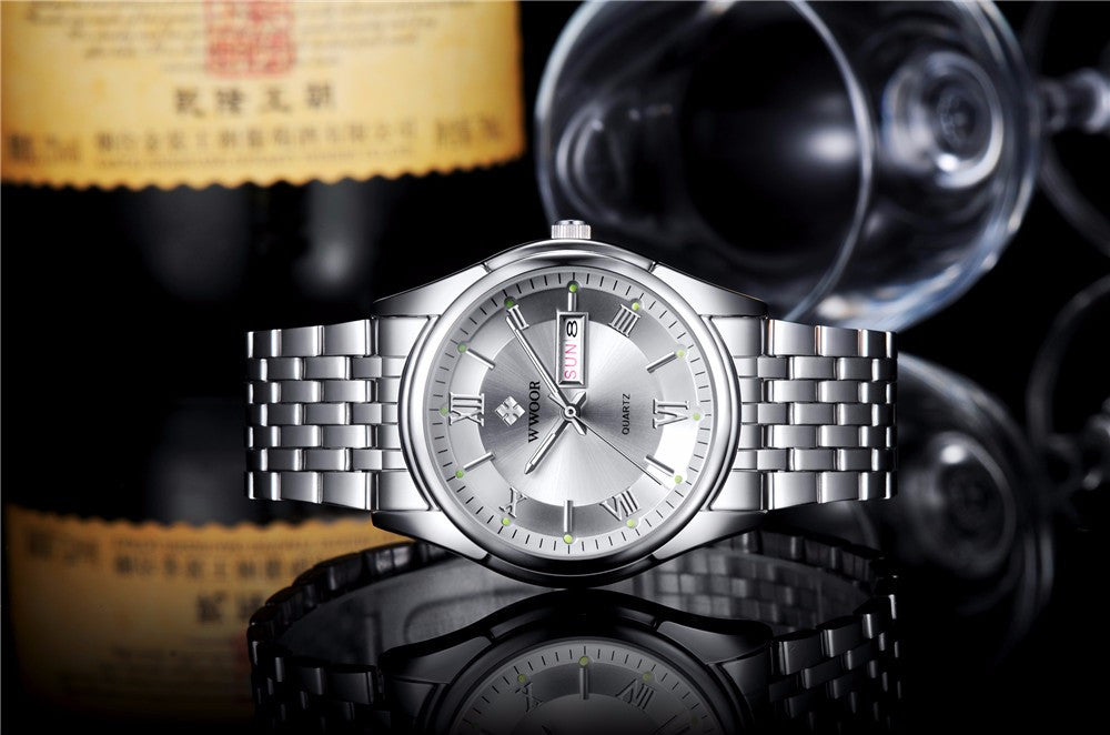 Luminous Silver and Black Stainless Steel Watch
