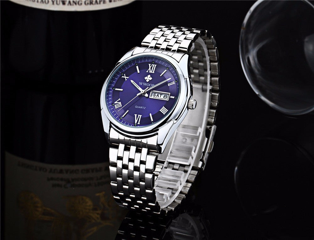 Luminous Silver/Blue Stainless Steel Watch