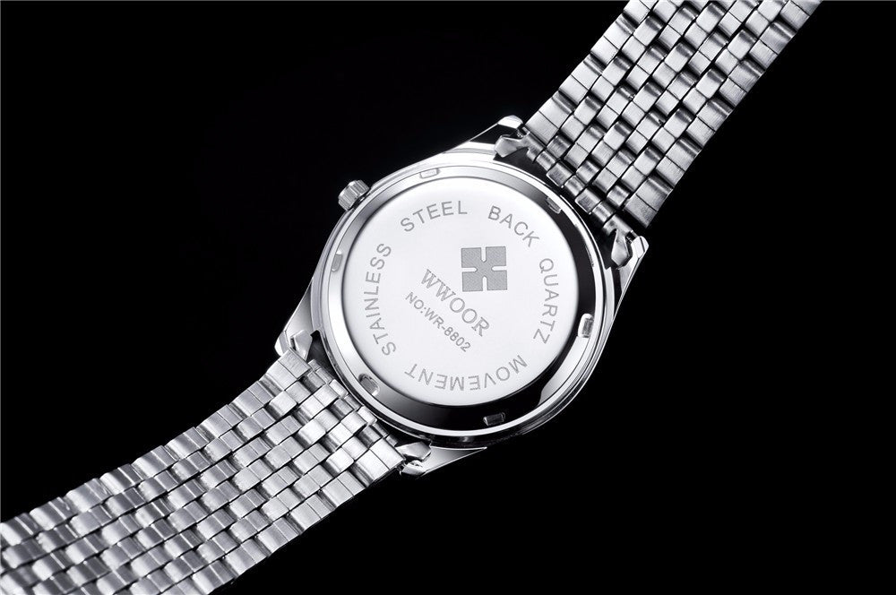 Luminous Silver/Black Stainless Steel Watch