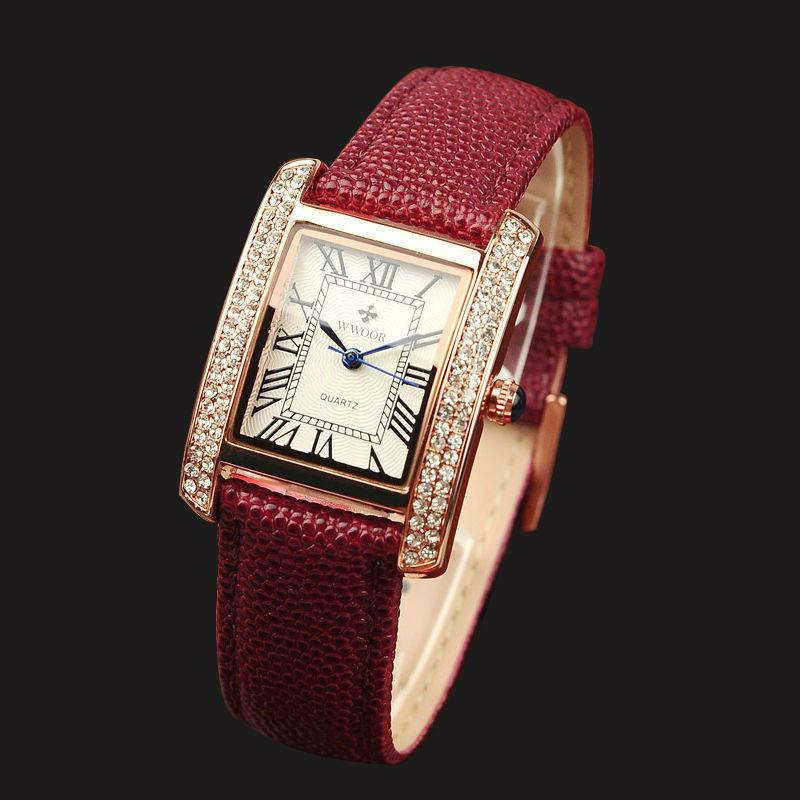 Dress Watch With Crystals & Leather Strap (available in more colors)