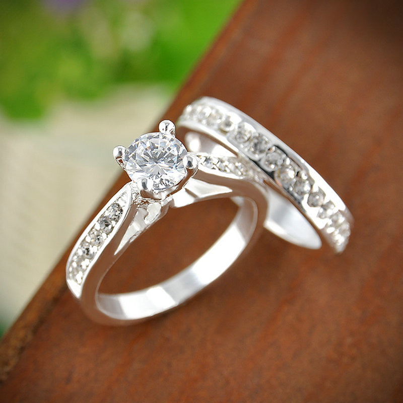 silver Crystal Engagement Wedding Ring