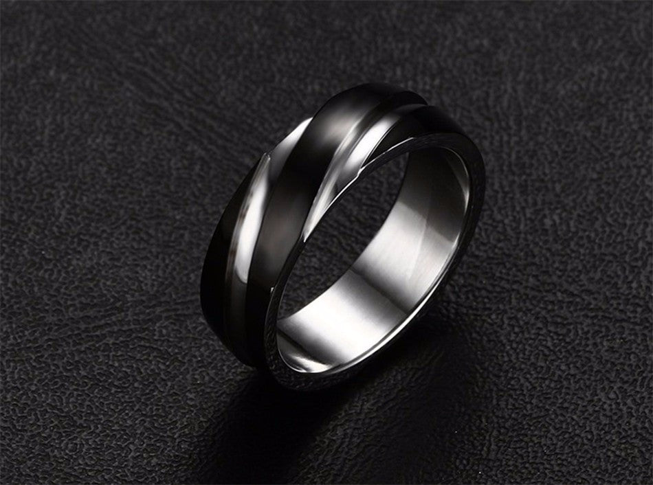 stainless steel geometric ring black