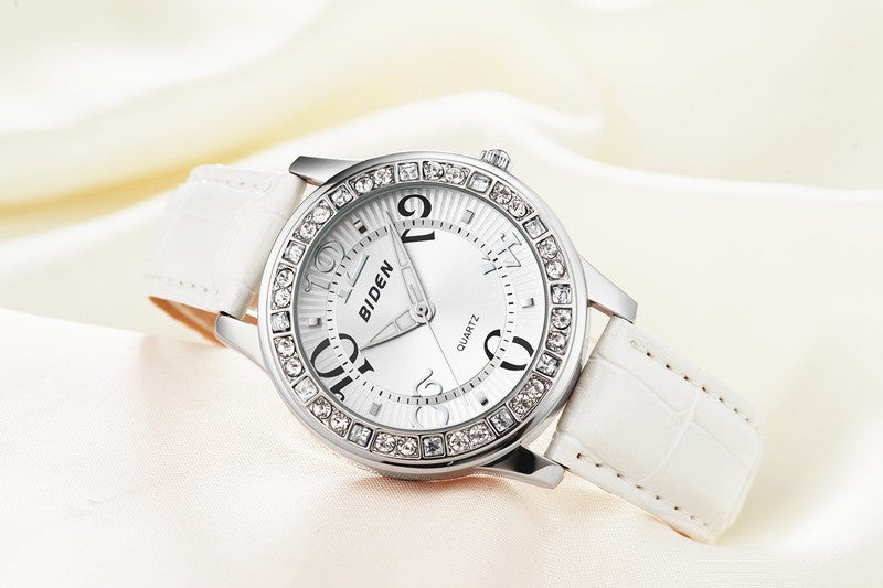 Rhinestone Baby Blue with Leather Strap Watch (available in more colors)