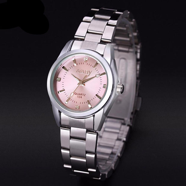 NARY Quartz Silver Womens Watch with Rhinestones