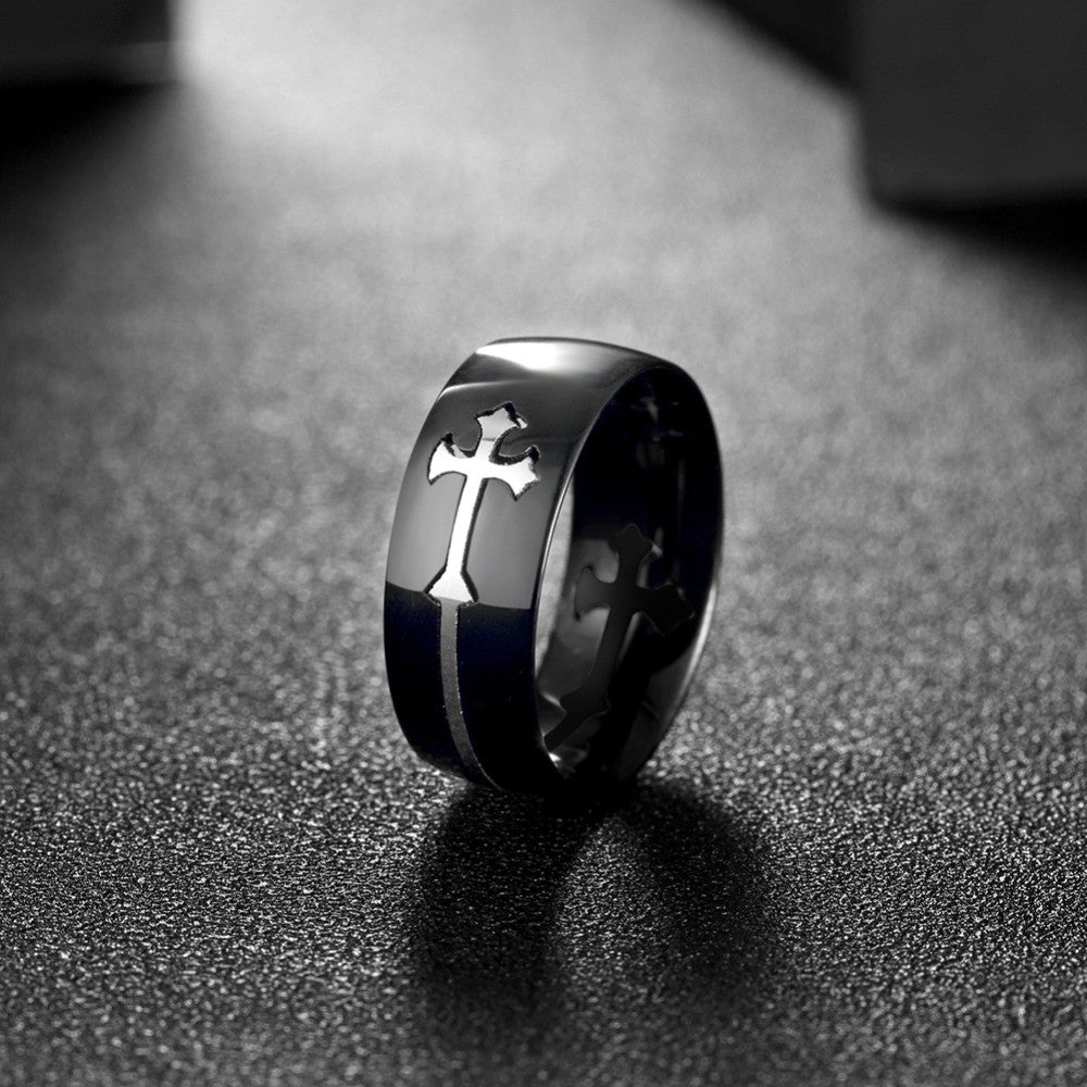 cross sideways ring for men