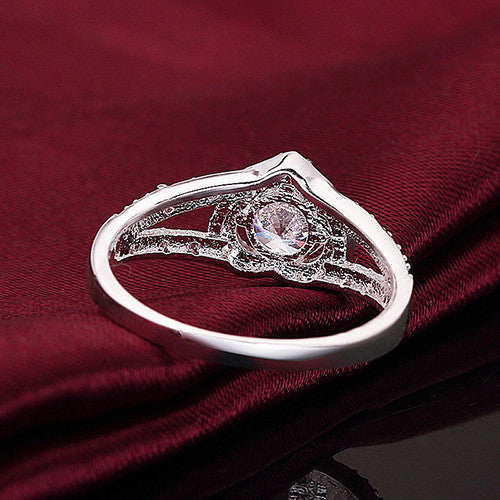 silver plated crystal heart shape women's ring