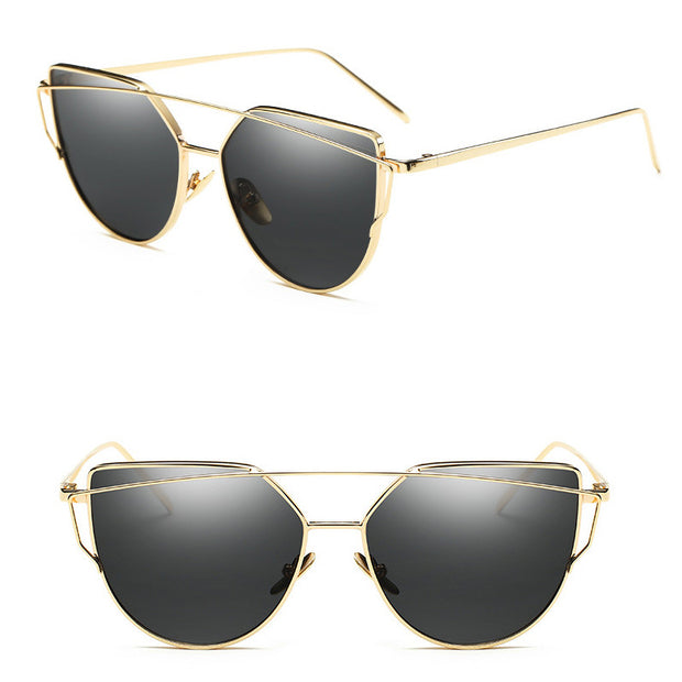 Eye Cat Golden Frame Black Lenses Sunglasses