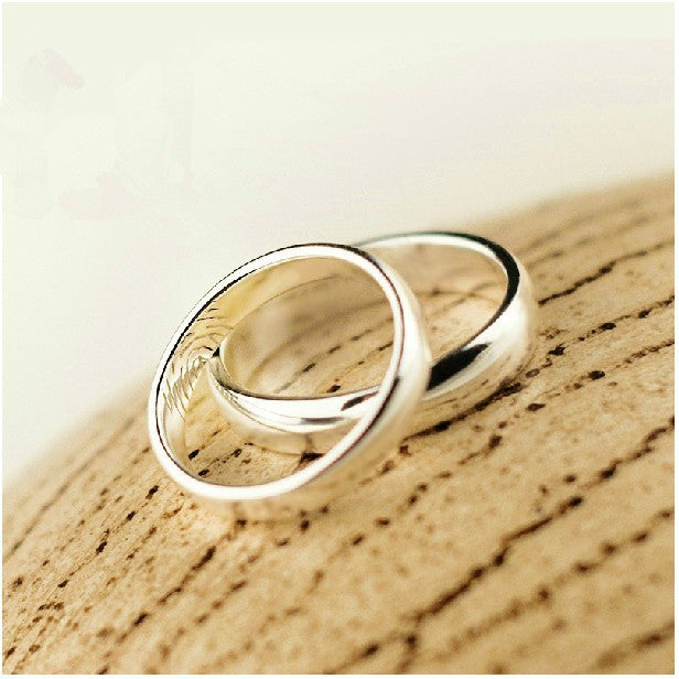 silver color couple ring