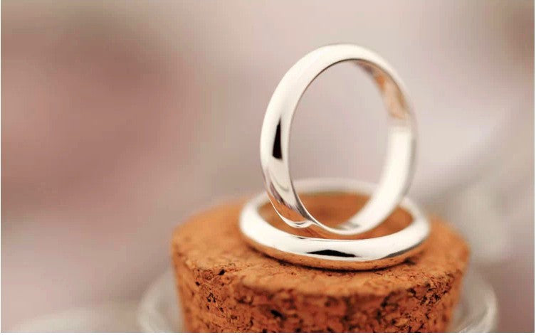 Silver Color Couple Wedding Rings