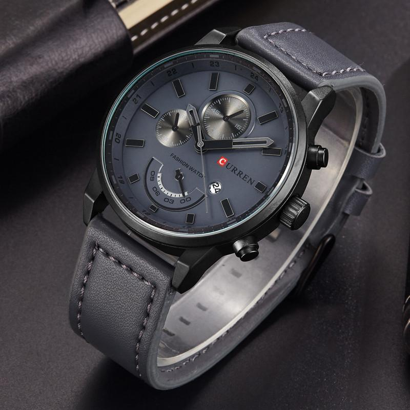 Gun Metal Style Watch With Luxury Leather