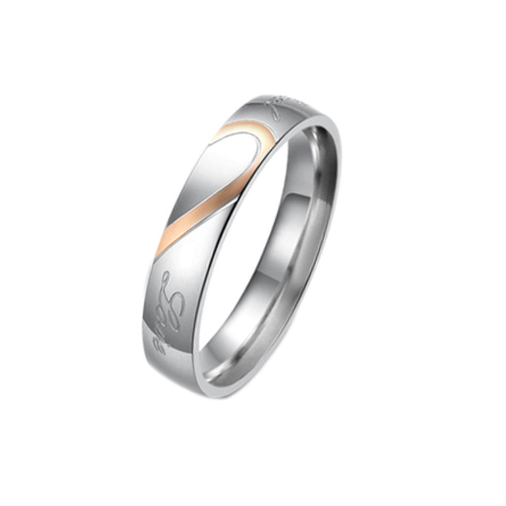 half heart puzzle gold and silver ring