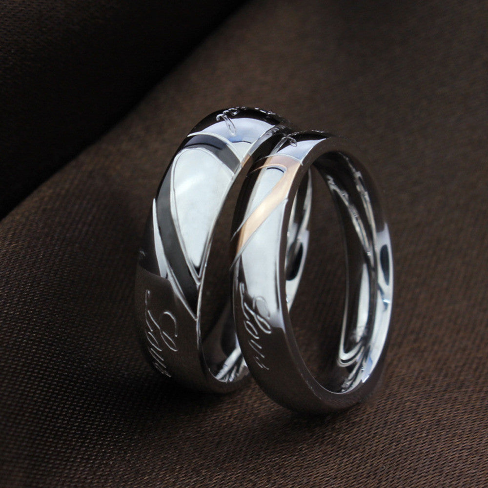 wedding ring silver half heart puzzle