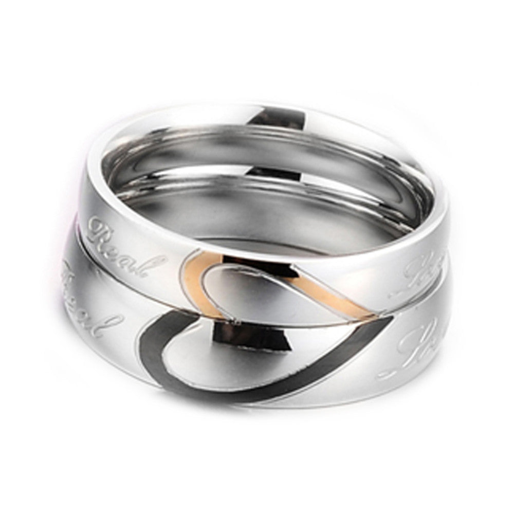wedding ring silver half heart puzzle gold and black