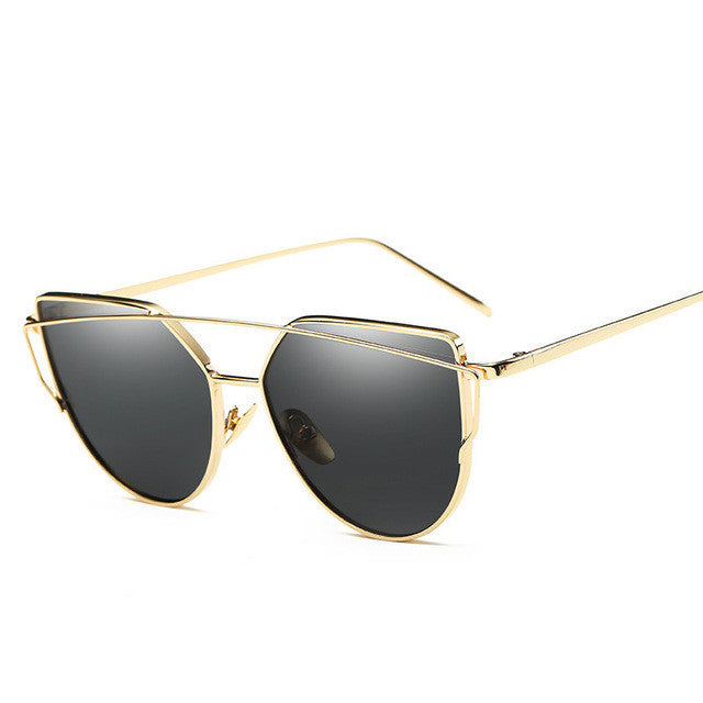 golden frame cat eye sunglasses for women