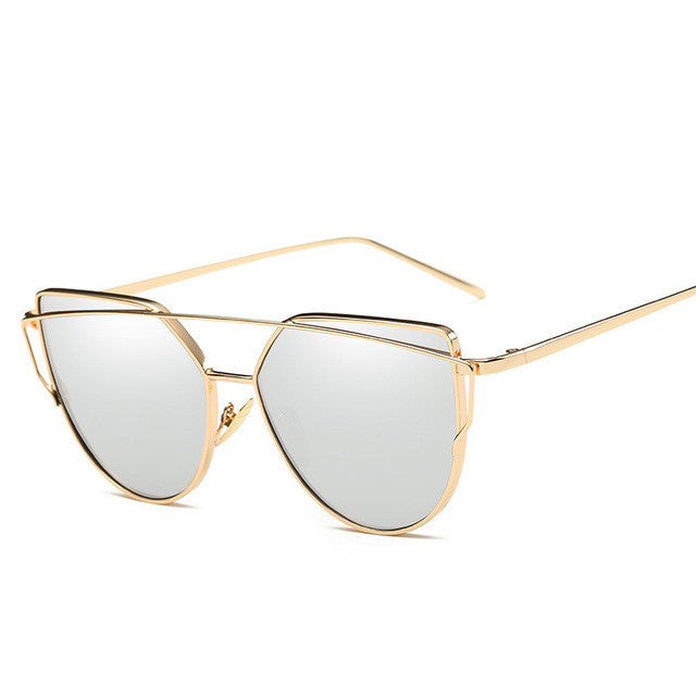 Eye Cat Golden Frame Silver Lenses Sunglasses