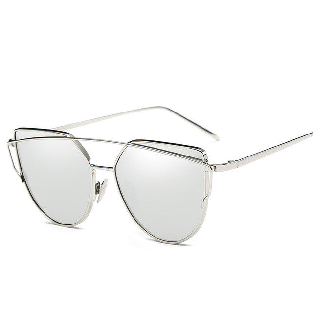 silver lenses cat eye golden frame sunglasses