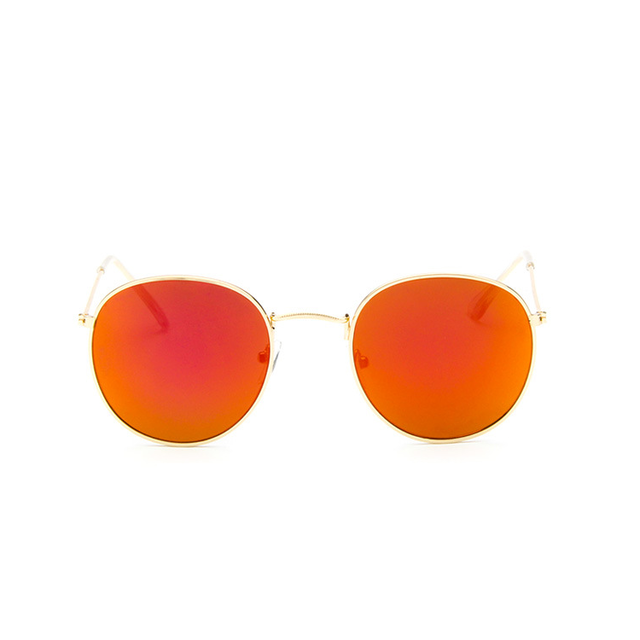 red orange retro round sunglasses for women