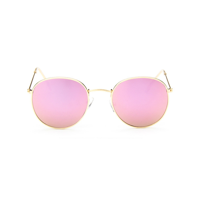 light pink retro round sunglasses for women