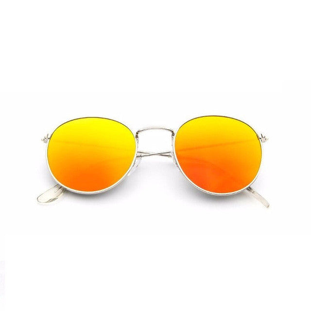 golden orange retro round sunglasses for women