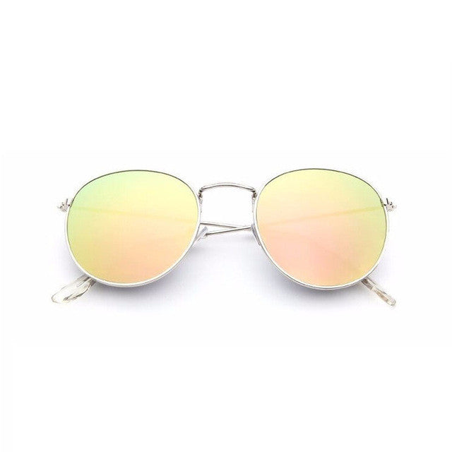 yellow retro round sunglasses for women