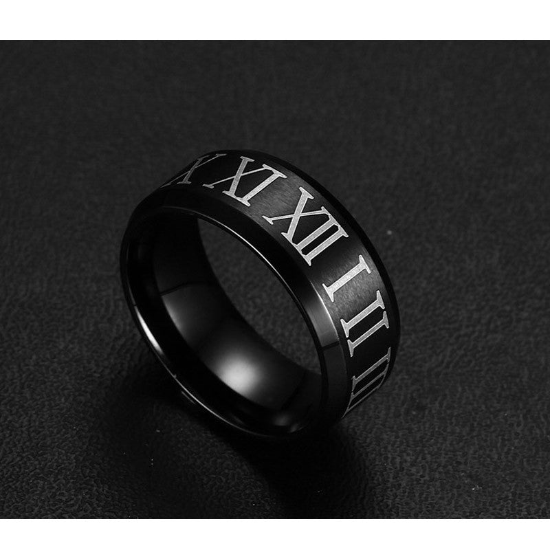 stainless steel black ring roman numerals