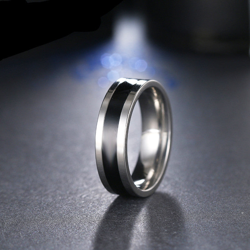 black and silver ring