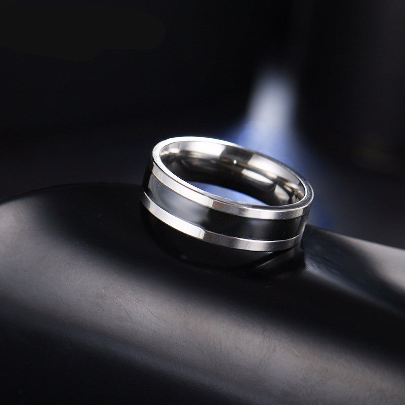 stainless steel black and silver ring
