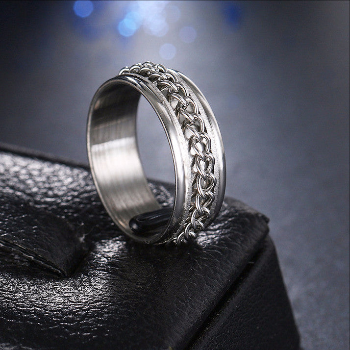 silver key chain rotating ring