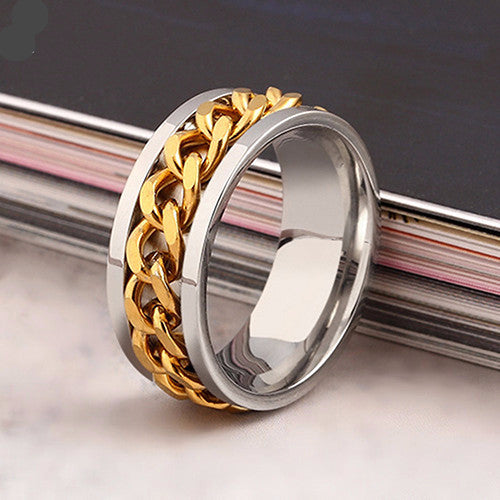 chain style stainless steel golden ring