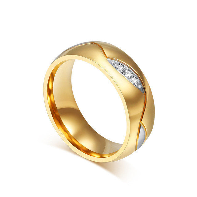 gold wedding ring cubic zirconia